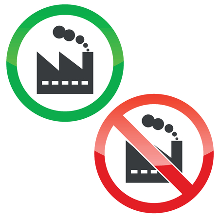 smokestack: Allowed and forbidden signs with factory building image, isolated on white