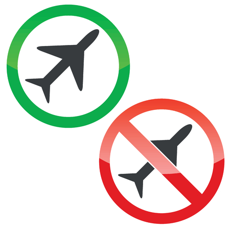 allowed: Allowed and forbidden signs with plane image, isolated on white