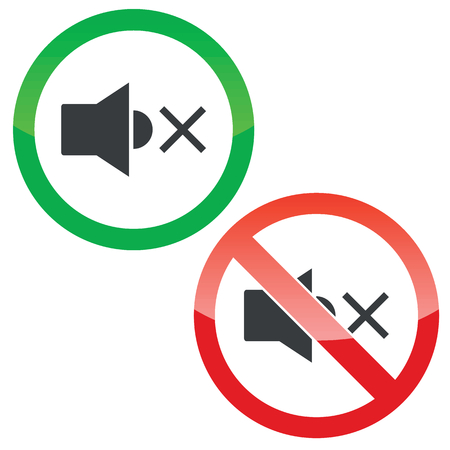 muted: Allowed and forbidden signs with muted loudspeaker image, isolated on white
