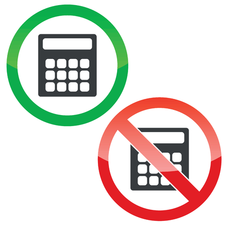 Allowed and forbidden signs with calculator image, isolated on white Vettoriali