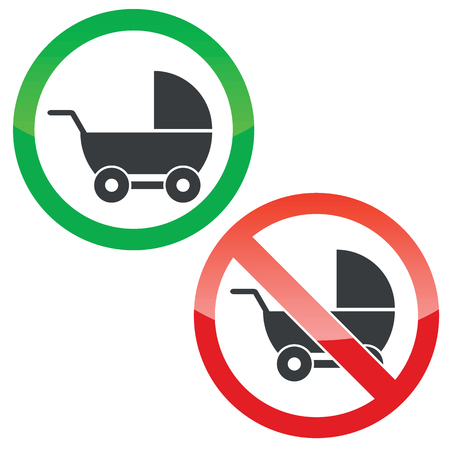 perambulator: Allowed and forbidden signs with perambulator image, isolated on white Illustration
