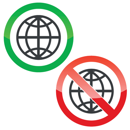 allowed: Allowed and forbidden signs with globe symbol, isolated on white