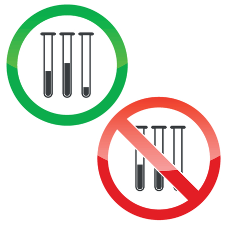 reagents: Allowed and forbidden signs with three test-tubes image, isolated on white