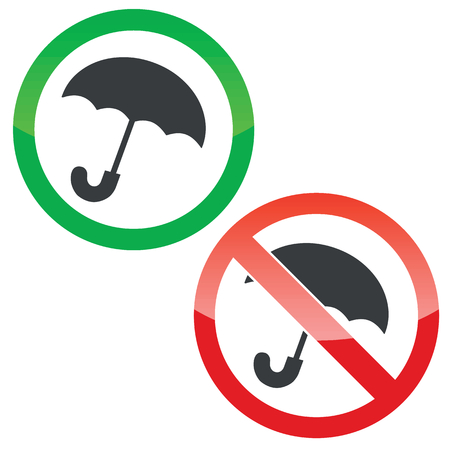 cloudburst: Allowed and forbidden signs with open umbrella image, isolated on white Illustration