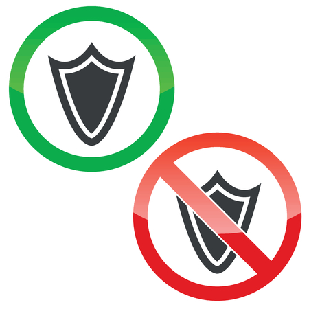 allowed: Allowed and forbidden signs with shield image, isolated on white