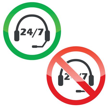 白で隔離ヘッドセットと 7、あたり本文 24 許可および禁止の標識  イラスト・ベクター素材
