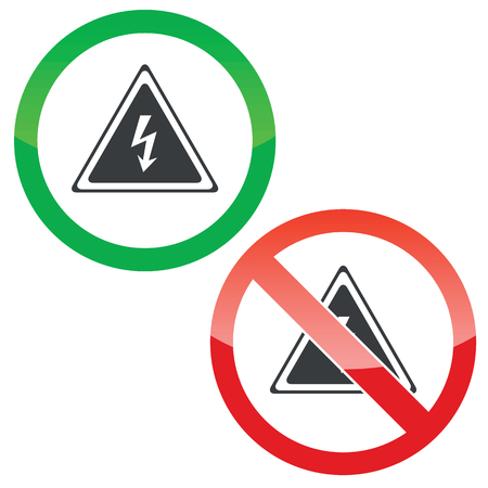 Allowed and forbidden signs with high voltage sign image, isolated on white