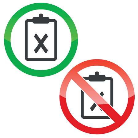 clipboard isolated: Allowed and forbidden signs with clipboard with cross, isolated on white Illustration