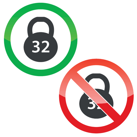 32: Allowed and forbidden signs with 32 kg dumbbell image, isolated on white