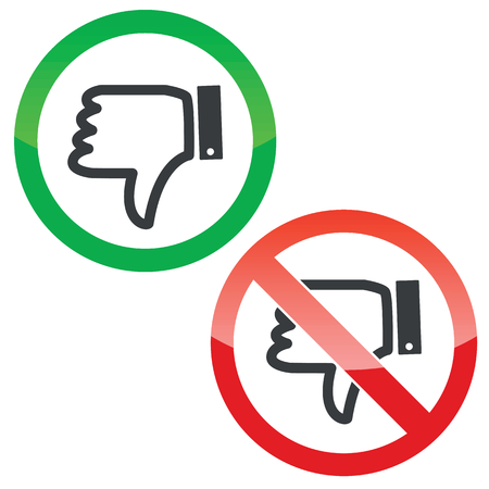estimation: Allowed and forbidden signs with dislike symbol, isolated on white Illustration