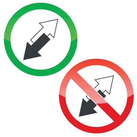 oppos: Autoris�s et signes interdit avec deux fl�ches inclin�es oppos�es, isol� sur blanc Illustration