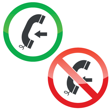 Allowed and forbidden signs with phone receiver and left arrow, isolated on white Illustration