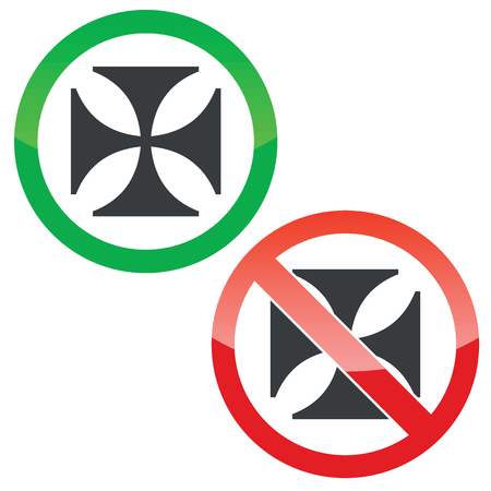 dog allowed: Allowed and forbidden signs with maltese cross image, isolated on white Illustration