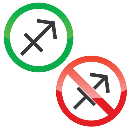 ecliptic: Allowed and forbidden signs with Sagittarius zodiac symbol, isolated on white