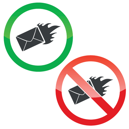 meaningful: Allowed and forbidden signs with burning envelope image, isolated on white