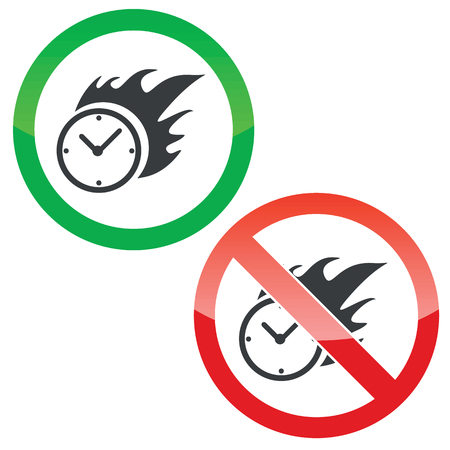 bounds: Allowed and forbidden signs with burning clock image, isolated on white Illustration