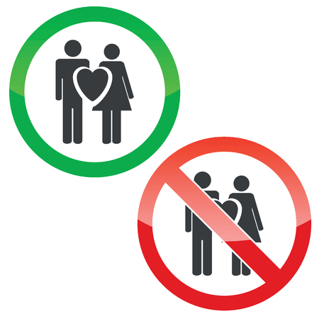 Allowed and forbidden signs with man, woman and heart, isolated on white
