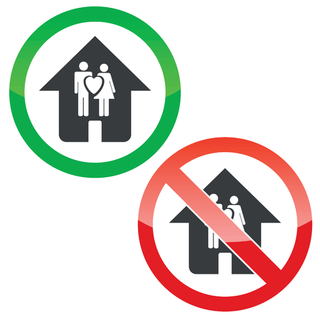 forbidden love: Allowed and forbidden signs with house with love couple, isolated on white Illustration