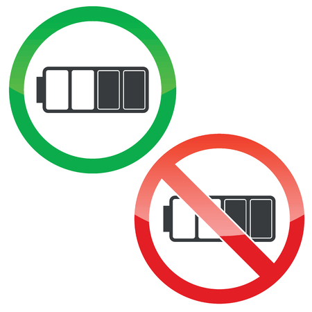half full: Allowed and forbidden signs with half full battery image, isolated on white