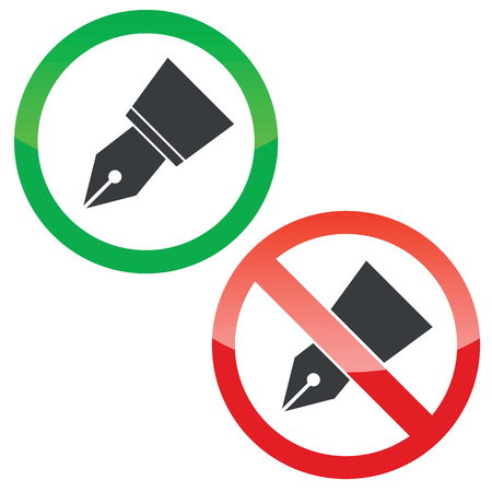nib: Allowed and forbidden signs with ink pen nib image, isolated on white