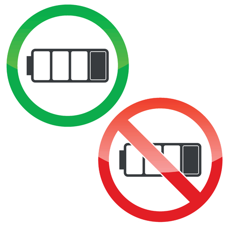 low battery: Allowed and forbidden signs with low battery image, isolated on white