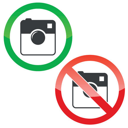 microblog: Allowed and forbidden signs with square camera image, isolated on white