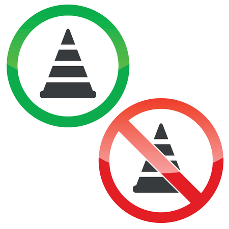 redirection: Allowed and forbidden signs with traffic cone image, isolated on white