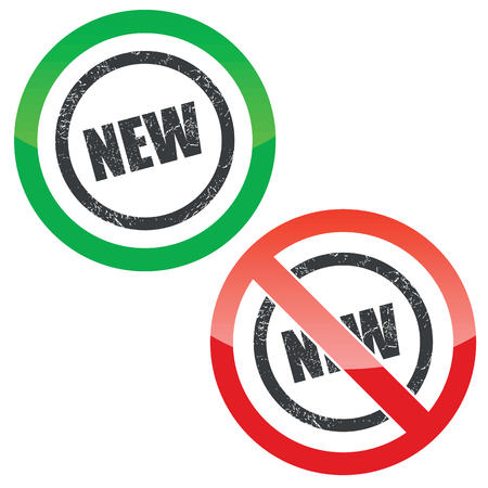 newness: Allowed and forbidden signs with text NEW in circle, isolated on white Illustration