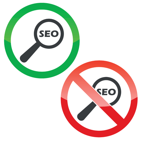 nuance: Allowed and forbidden signs with text SEO under loupe, isolated on white Illustration