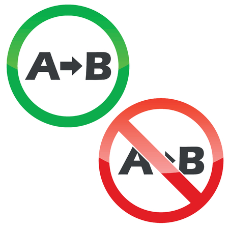 derivation: Allowed and forbidden signs with letters A, B and arrow, isolated on white