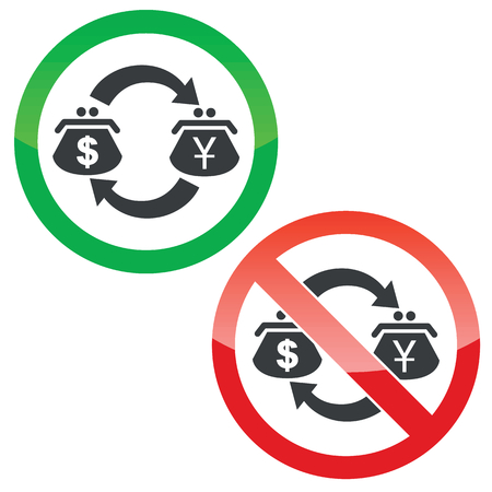 purses: Allowed and forbidden signs with exchange between dollar and yen purses, isolated on white
