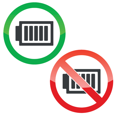 charged: Allowed and forbidden signs with charged battery, isolated on white