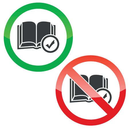book mark: Allowed and forbidden signs with open book and tick mark, isolated on white