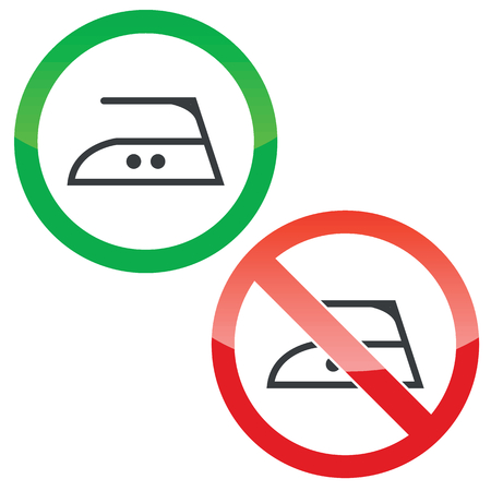 smoothing: Allowed and forbidden signs with ironing at middle temperature sign, isolated on white Illustration