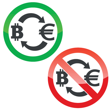 yes or no to euro: Allowed and forbidden signs with exchange between bitcoin and euro, isolated on white Illustration