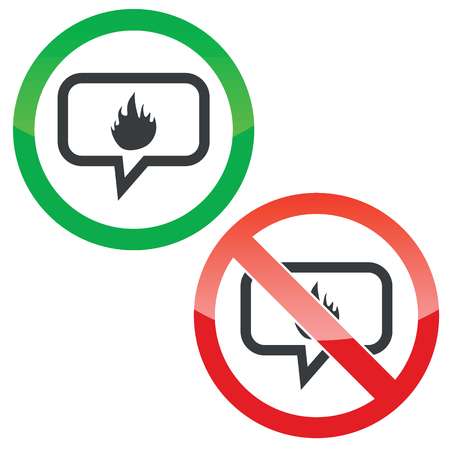 conflagration: Allowed and forbidden signs with flame image in chat bubble, isolated on white