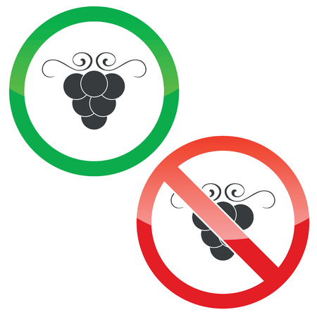 cluster: Allowed and forbidden signs with grape cluster, isolated on white