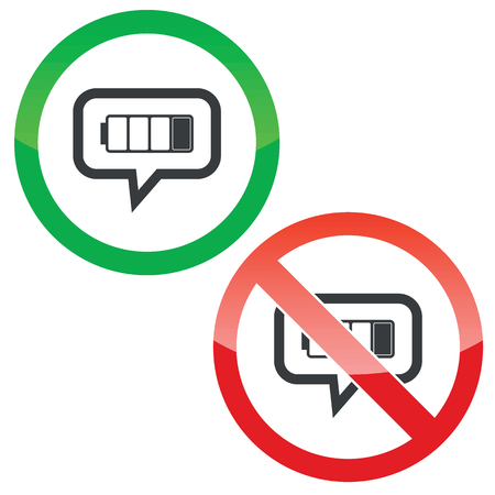 low battery: Allowed and forbidden signs with low battery in chat bubble, isolated on white