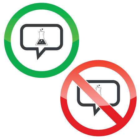 reagents: Allowed and forbidden signs with conical flask in chat bubble, isolated on white Illustration