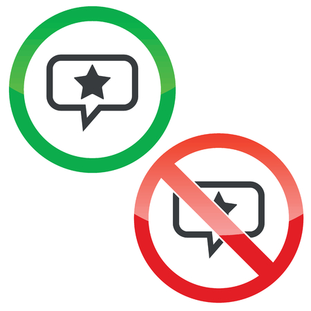 Allowed and forbidden signs with star in chat bubble, isolated on white