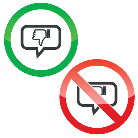 disapproval: Allowed and forbidden signs with dislike symbol in chat bubble, isolated on white