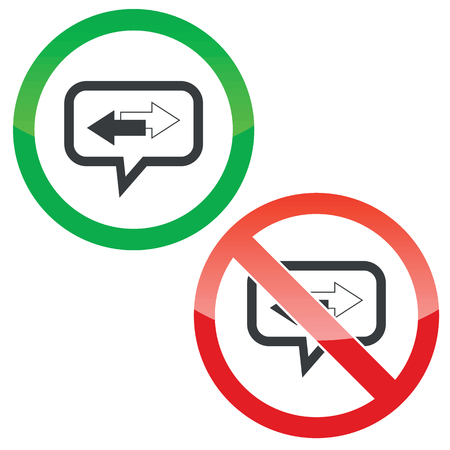 opposite arrows: Allowed and forbidden signs with opposite arrows in chat bubble, isolated on white