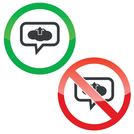 chat up: Allowed and forbidden signs with cloud, up arrow in chat bubble, isolated on white