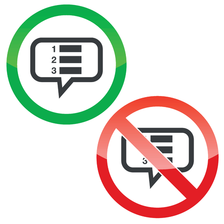 enumerated: Allowed and forbidden signs with numbered list in chat bubble, isolated on white Illustration