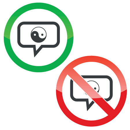 dao: Allowed and forbidden signs with ying yang symbol in chat bubble, isolated on white Illustration