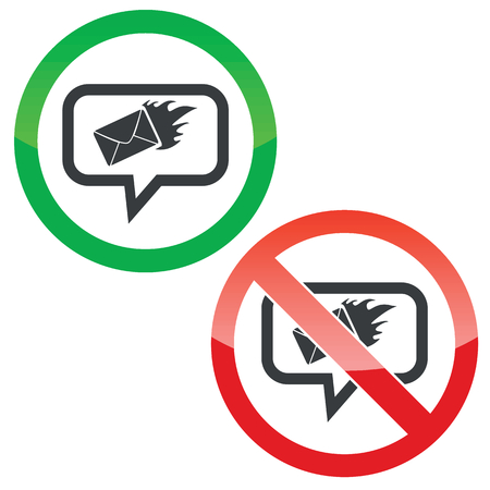 meaningful: Allowed and forbidden signs with burning envelope in chat bubble, isolated on white