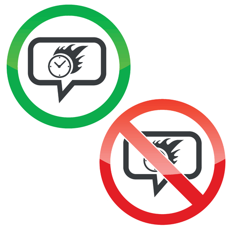 bounds: Allowed and forbidden signs with burning clock in chat bubble, isolated on white