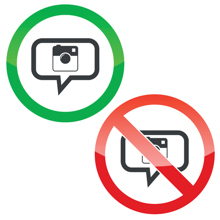 microblog: Allowed and forbidden signs with square camera in chat bubble, isolated on white