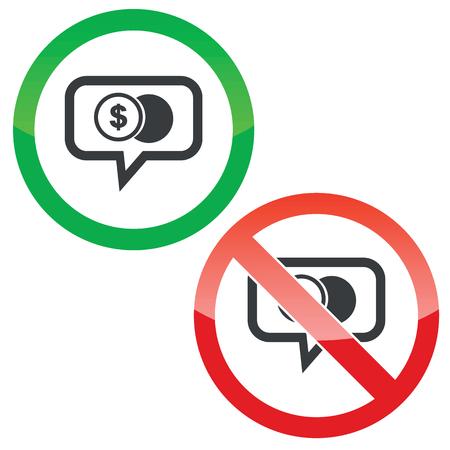 signo pesos: Permitido y prohibido signos con la moneda del dólar en burbuja de chat, aislado en blanco