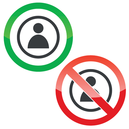 Allowed and forbidden signs with user icon in circle, isolated on white